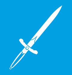 Sword icon white vector