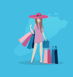 the girl is shopping flat style vector image