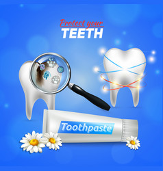 tooth dental care realistic vector image