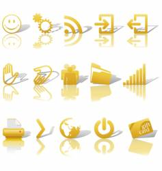 web gold icons set vector image