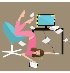 woman people hard work tired full paper vector image
