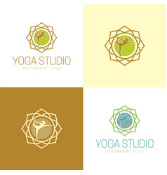 yoga studio logo and icon vector image