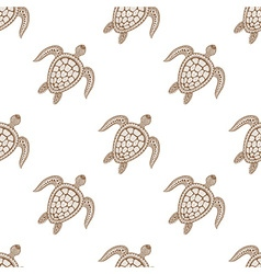 Zentangle tribal stylized turtle seamless pattern vector image