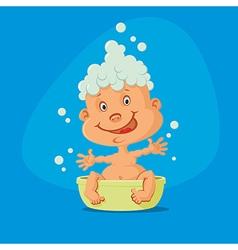 baby taking bath vector image