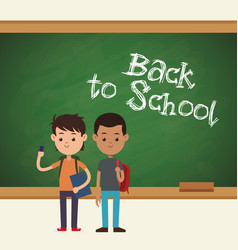 back to school two student mobile book and bag vector image
