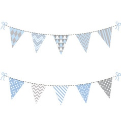 Blue and Grey Bunting Flag set vector image vector image