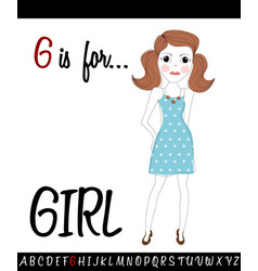 cartoon of capital letter g with girl vector image vector image
