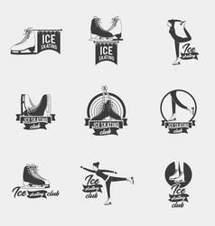 ice skating logo set vector image
