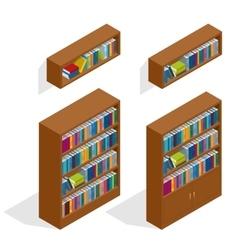 Isometric Bookshelfs set vector image vector image