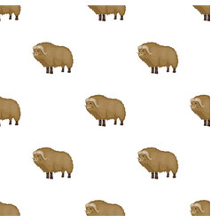 Muskox of stone age icon in cartoon style isolated vector