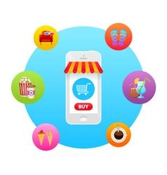 Online market in smartphone icon vector
