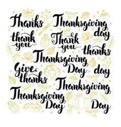 Thanksgiving Day Lettering Design Set vector image vector image