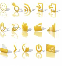 web gold icons shadows vector image vector image