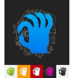 zombie paper sticker with hand drawn elements vector image