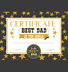 best dad in the world certificate vector image vector image