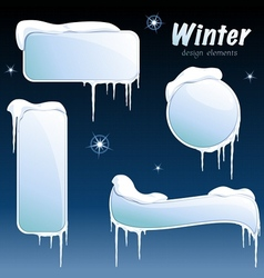 collection of glossy winter banners vector image vector image