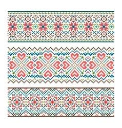 Embroidered handmade stitch ukraine ethnic pattern vector