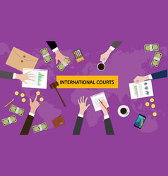 International courts concept discussion in a vector