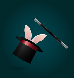 rabbit in magic hat and wand circus performance vector image