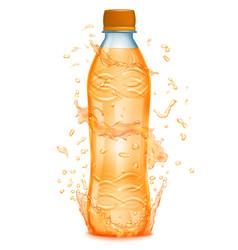 water splashes around a plastic bottle vector image
