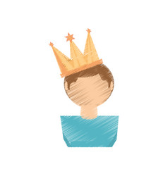 drawing guy party crown vector image vector image