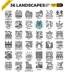 Nature landscapes pixel perfect outline icons vector image