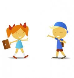 school children with bags vector image