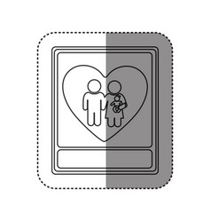 sticker of monochrome contour with portrait of vector image vector image