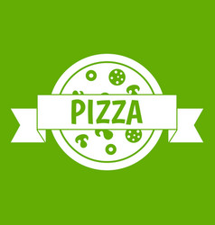 pizza label with ribbon icon green vector image