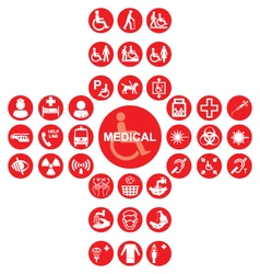 Red Medical and health care Icon collection vector image vector image