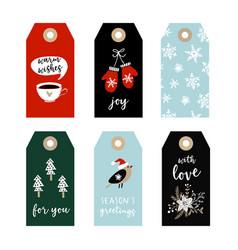 set of cute christmas gift tags labels with bird vector image vector image