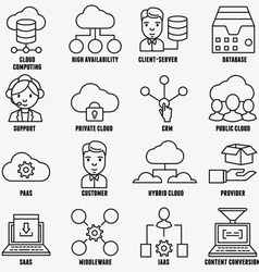 Set of linear cloud computing icons - part 1 vector image vector image
