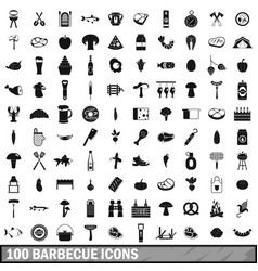 100 barbecue icons set simple style vector