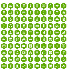 100 comfortable house icons hexagon green vector