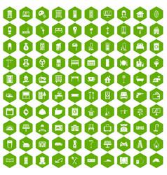 100 comfortable house icons hexagon green vector image