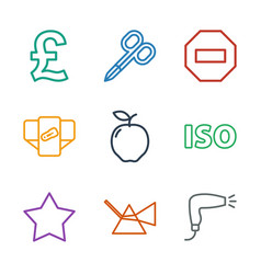 9 geometric icons vector