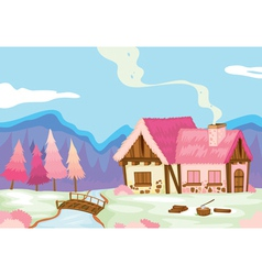 a pink house in nature vector image