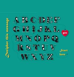 Artistic alphabet with text i adore you vector