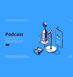 banner podcast and broadcasting vector image