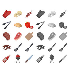 Barbecue and equipment cartoonmono icons in set vector