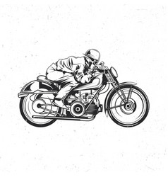 Biker riding on vintage motorcycle vector