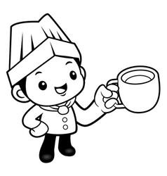 black and white cartoon cook mascot a cup of tea vector image