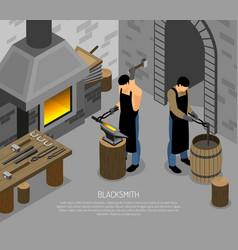 Blacksmith work isometric vector