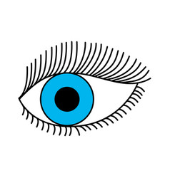 Blue eye look eyelashes vision cartoon vector