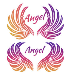 bright angel wings emblem vector image