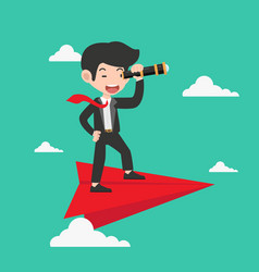 Businessman with a telescope on red paper plane vector