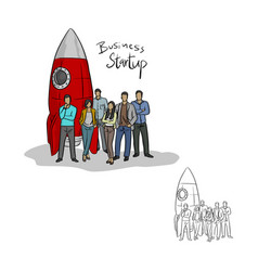 businesspeople standing by a rocket vector image