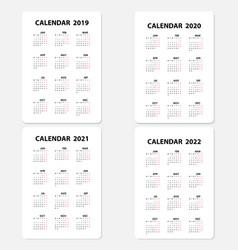 Calendar 2019 calendar 2020 calendar 2021 and vector