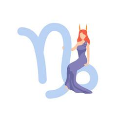 Capricorn zodiac sign young beautiful woman vector