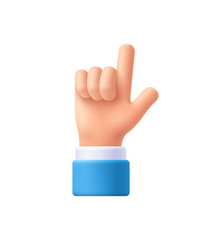 Cartoon character hand pointing gesture show one vector